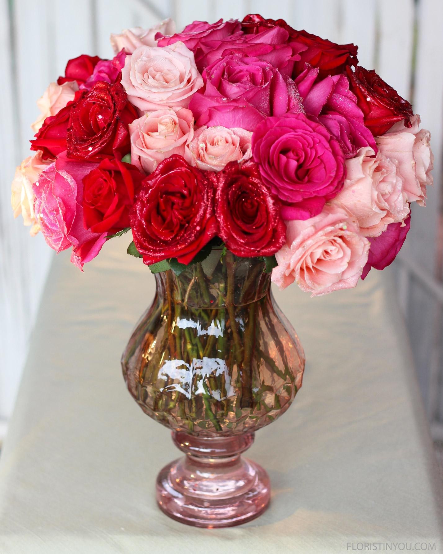 Valentine's Day Glitter Roses