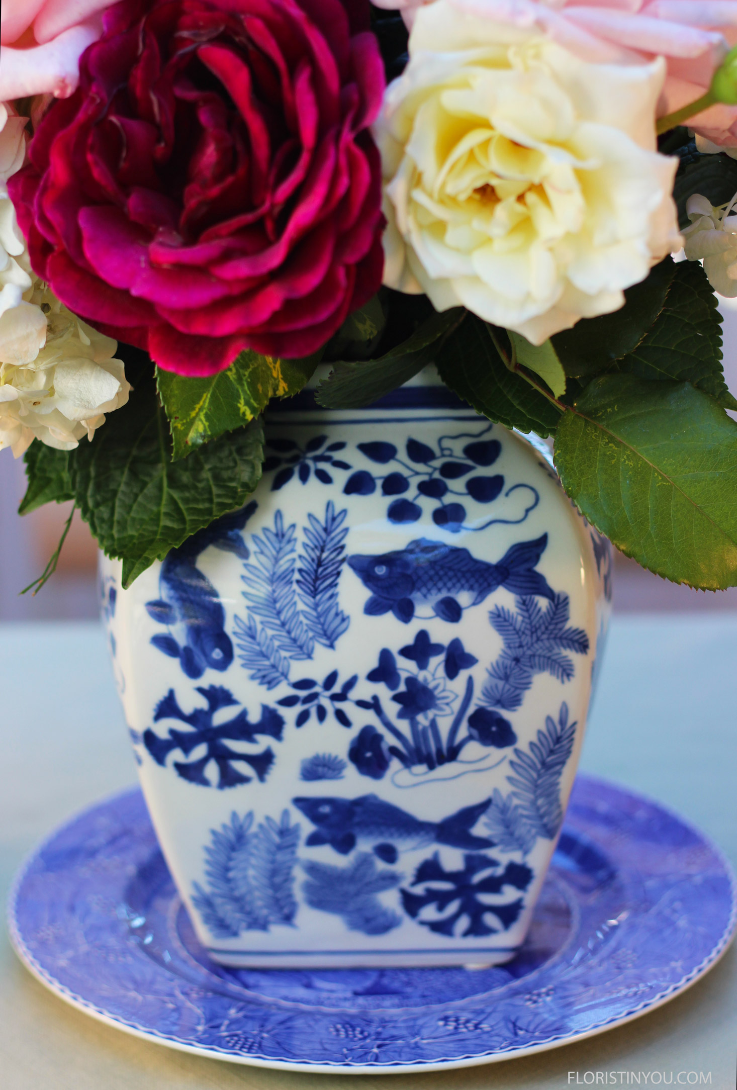 These could have been adorning the dinning room of Jane Austin's home. Blue and white with roses is classic and timeless.