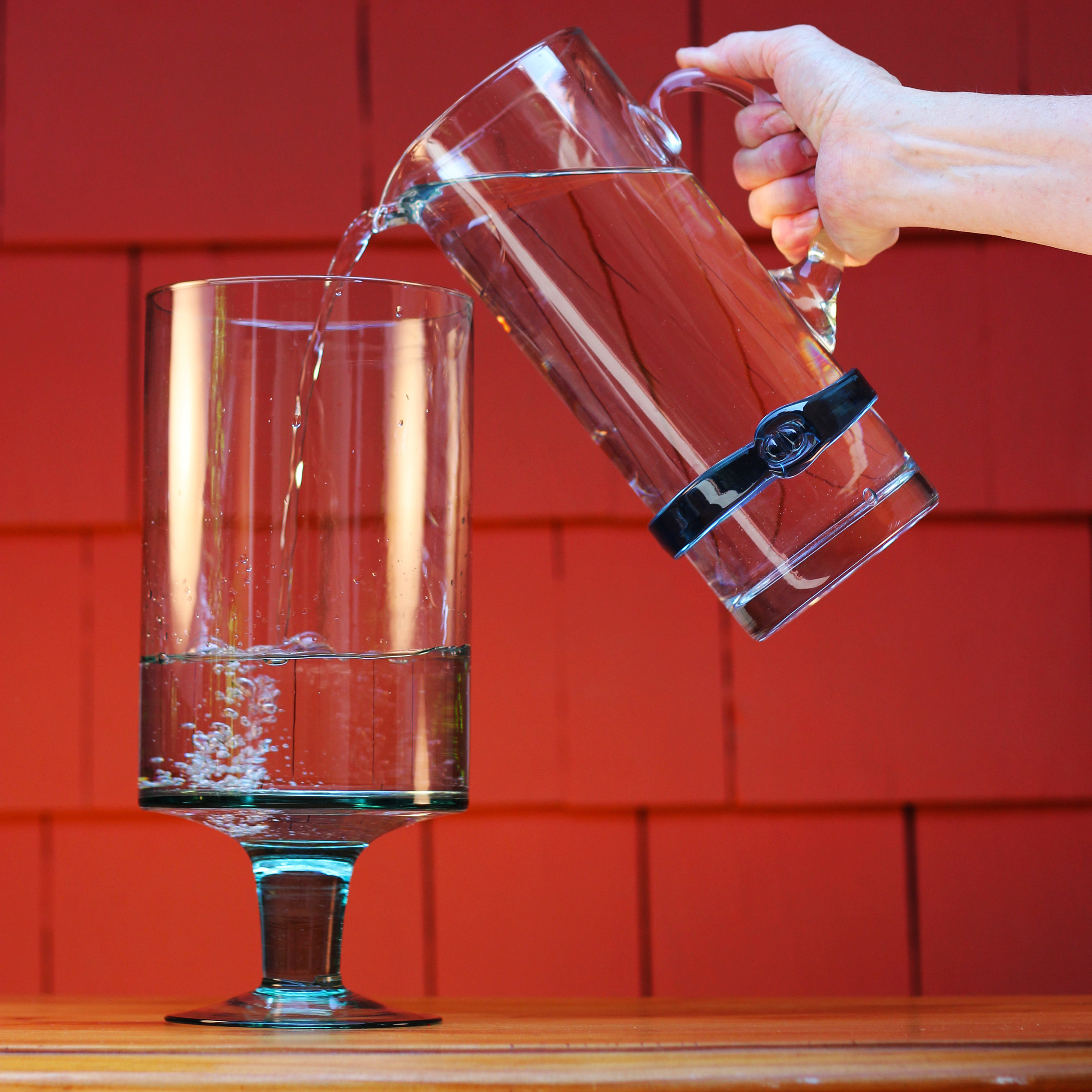 Pour water to about 2.5 inches below the top.