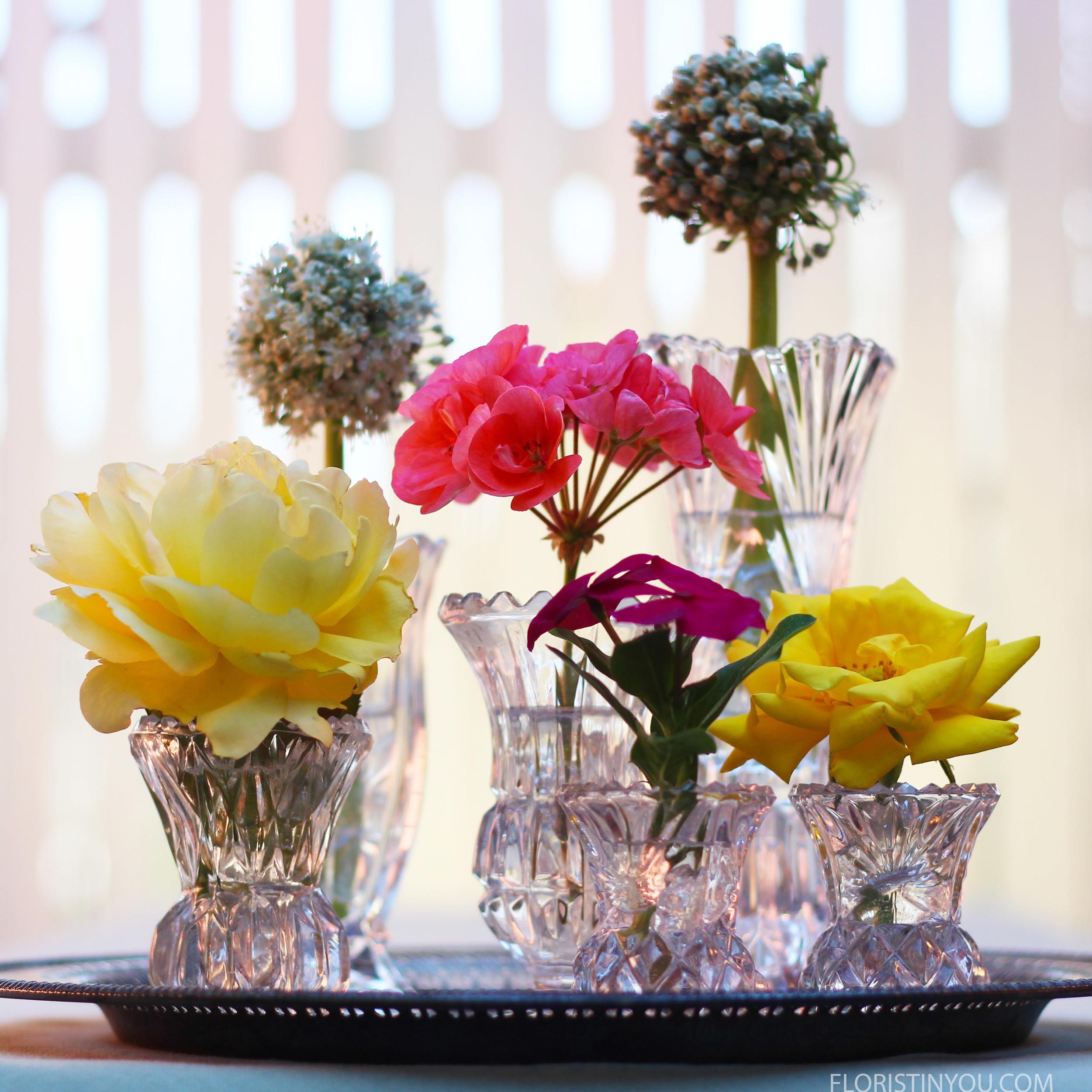 Crystal Bud Vase Arrangement