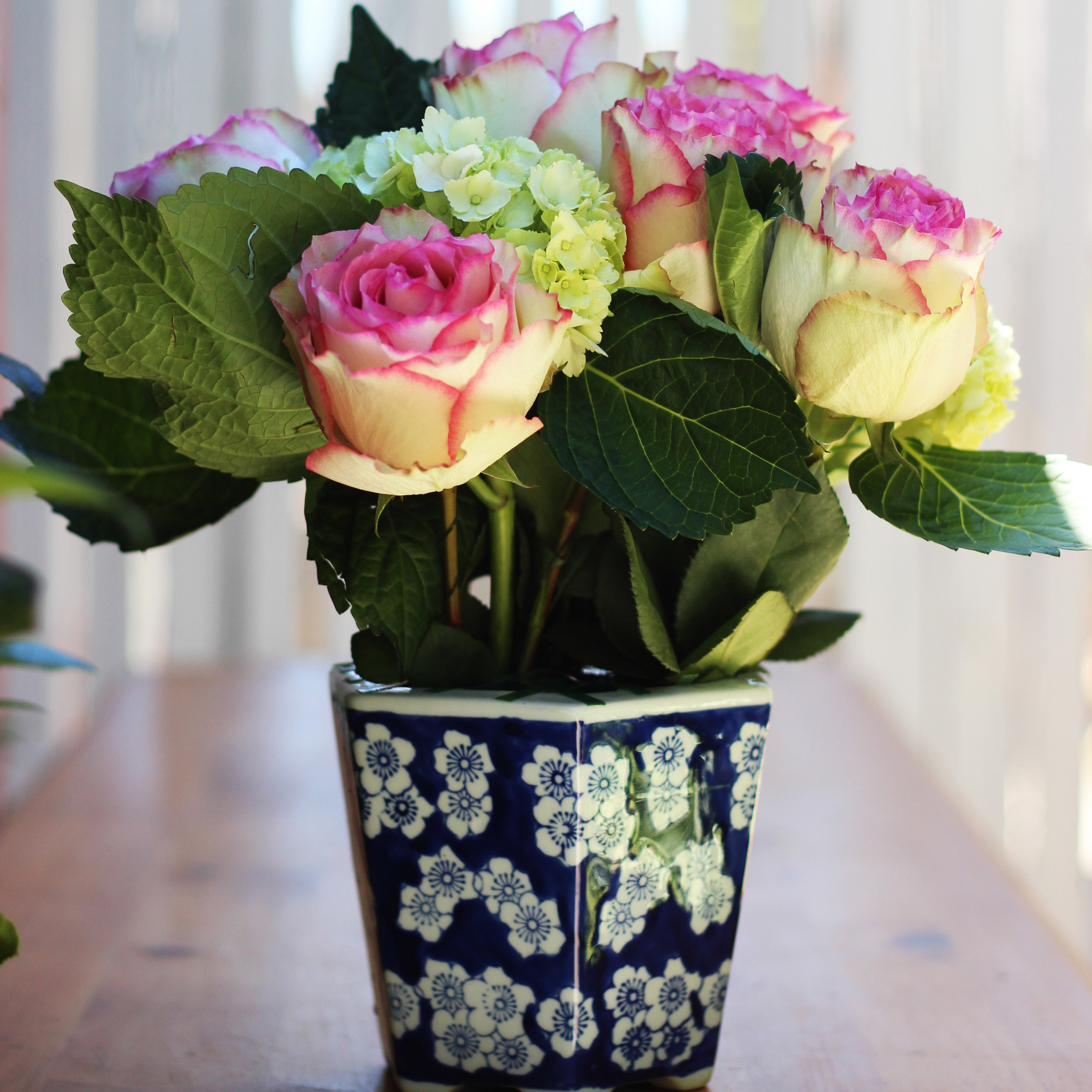 Next roses should be half an inch shorter than Hydrangea (10 inches).