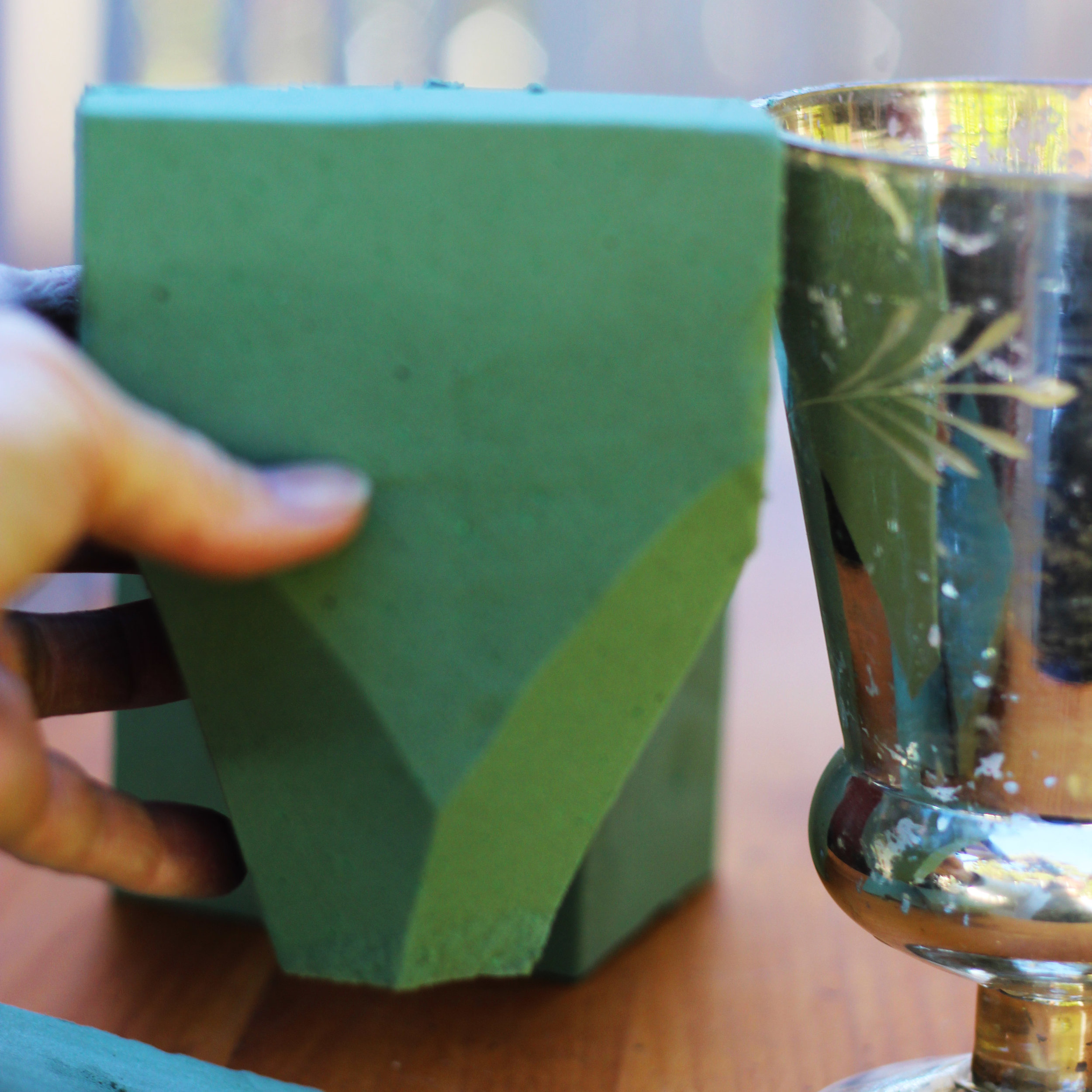 Use a produce knife cut the floral foam to fit the shape of the chalice.