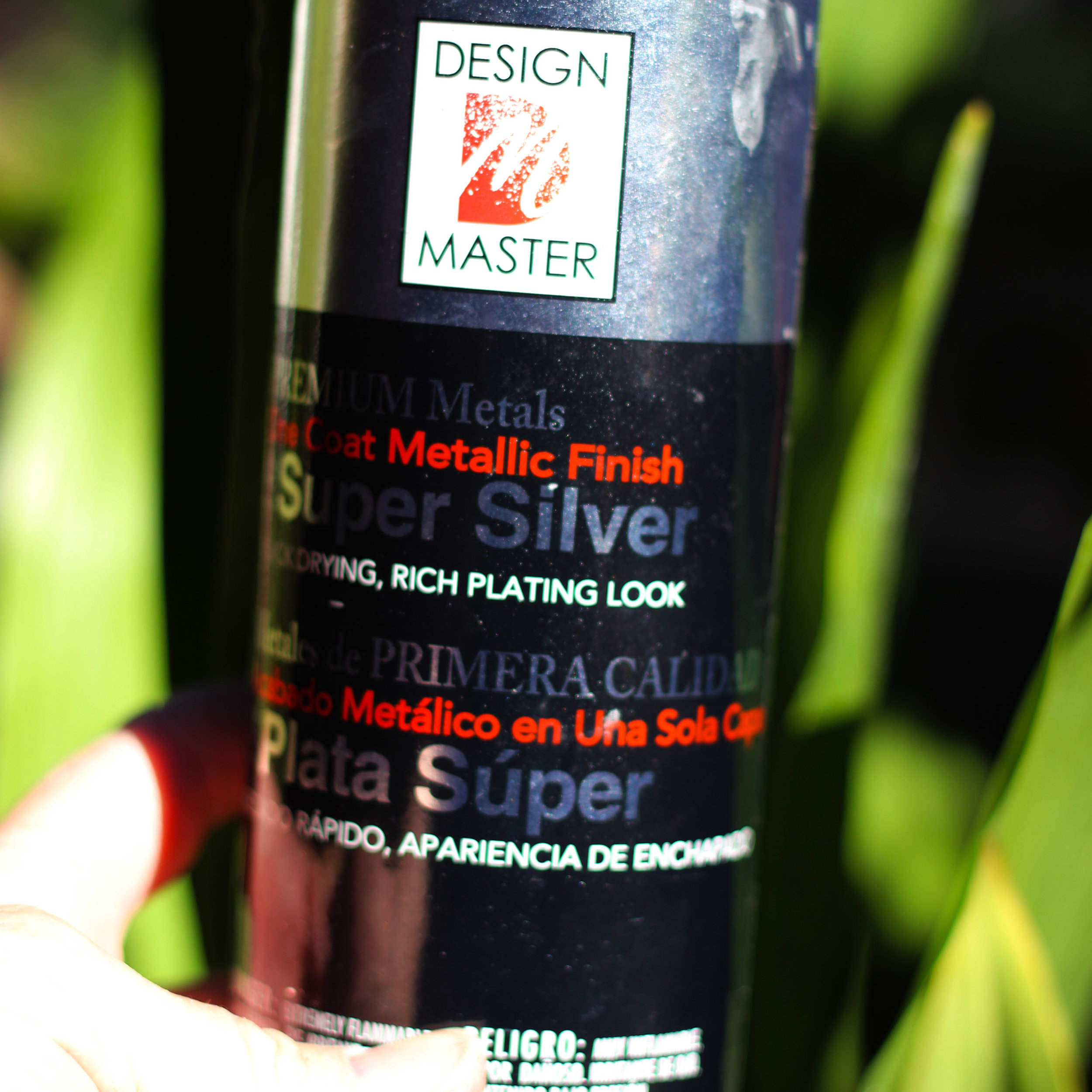 Use Design Master Metallic Finish Super Silver to spray leaves and pods.