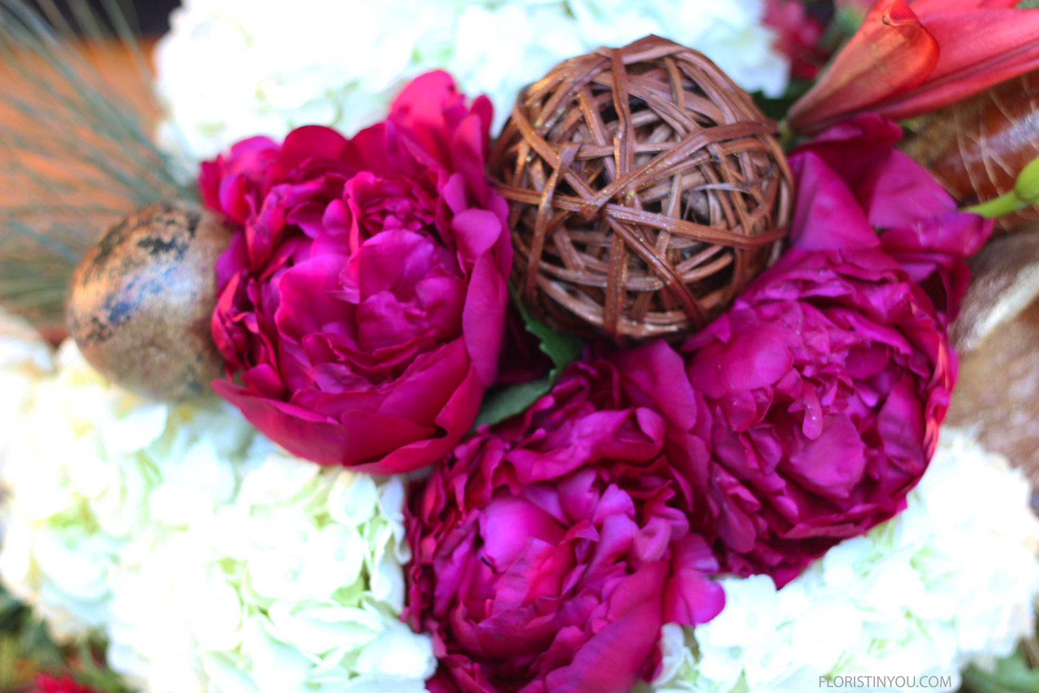 Close up of wrapped sphere and unbelievable peonies.