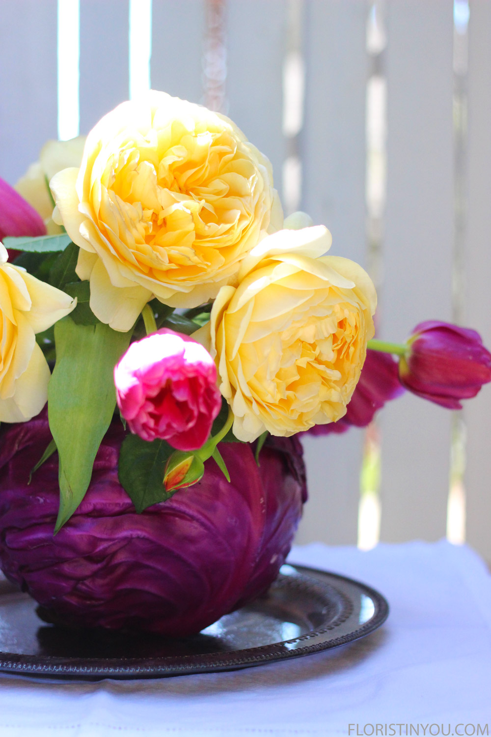 A great color combo, violet and yellow accented with bright green.
