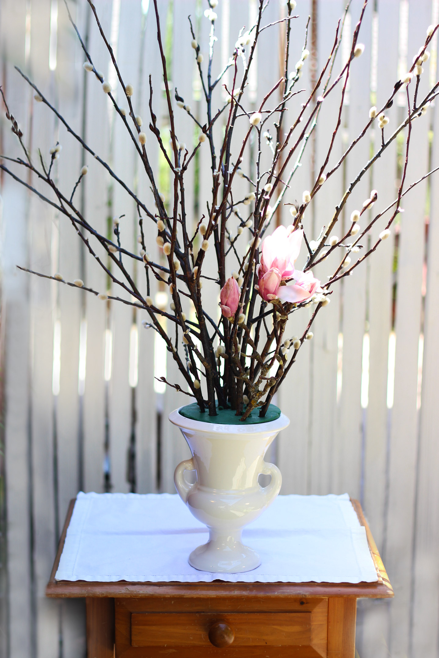 Add lower Purple Magnolias going out at an angle like the Pussy Willow.