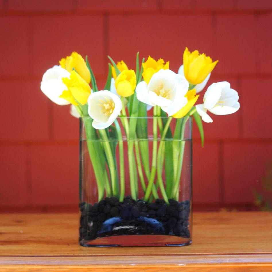 Place half of yellow tulips in front and sides, one by one. Push into stones.