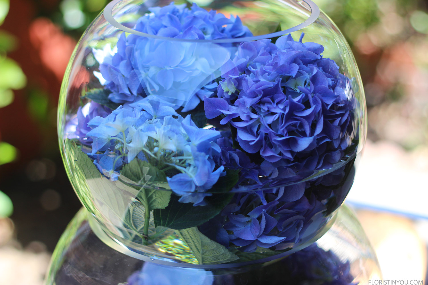The hydrangeas look beautiful floating in the water.