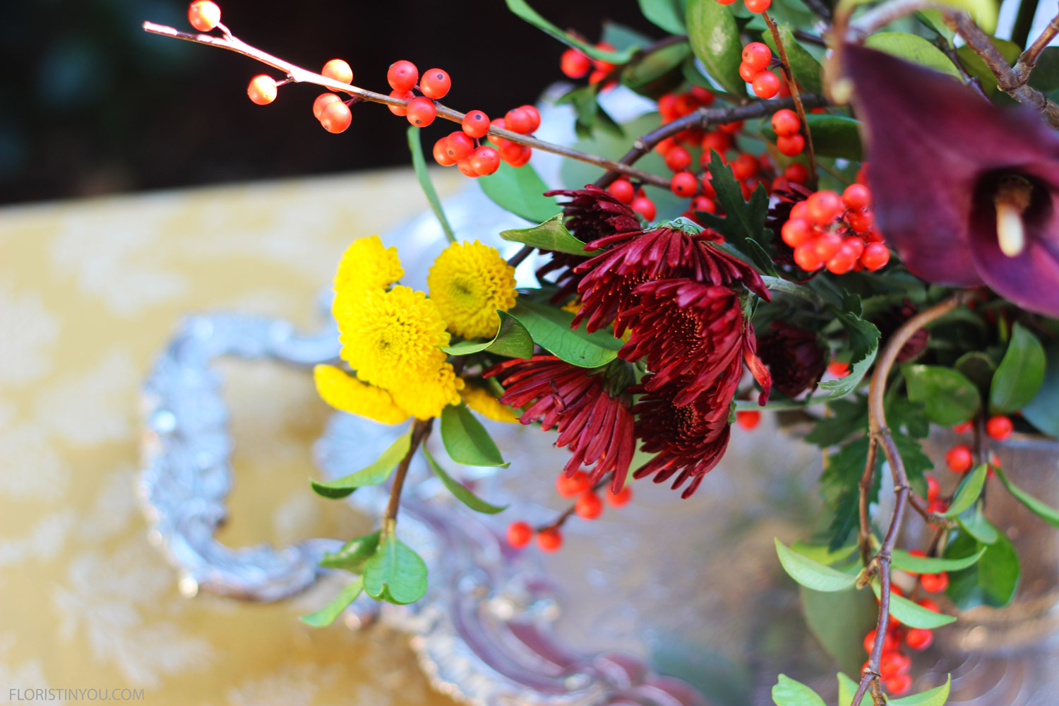 Detail of mums and Ilex Berries.