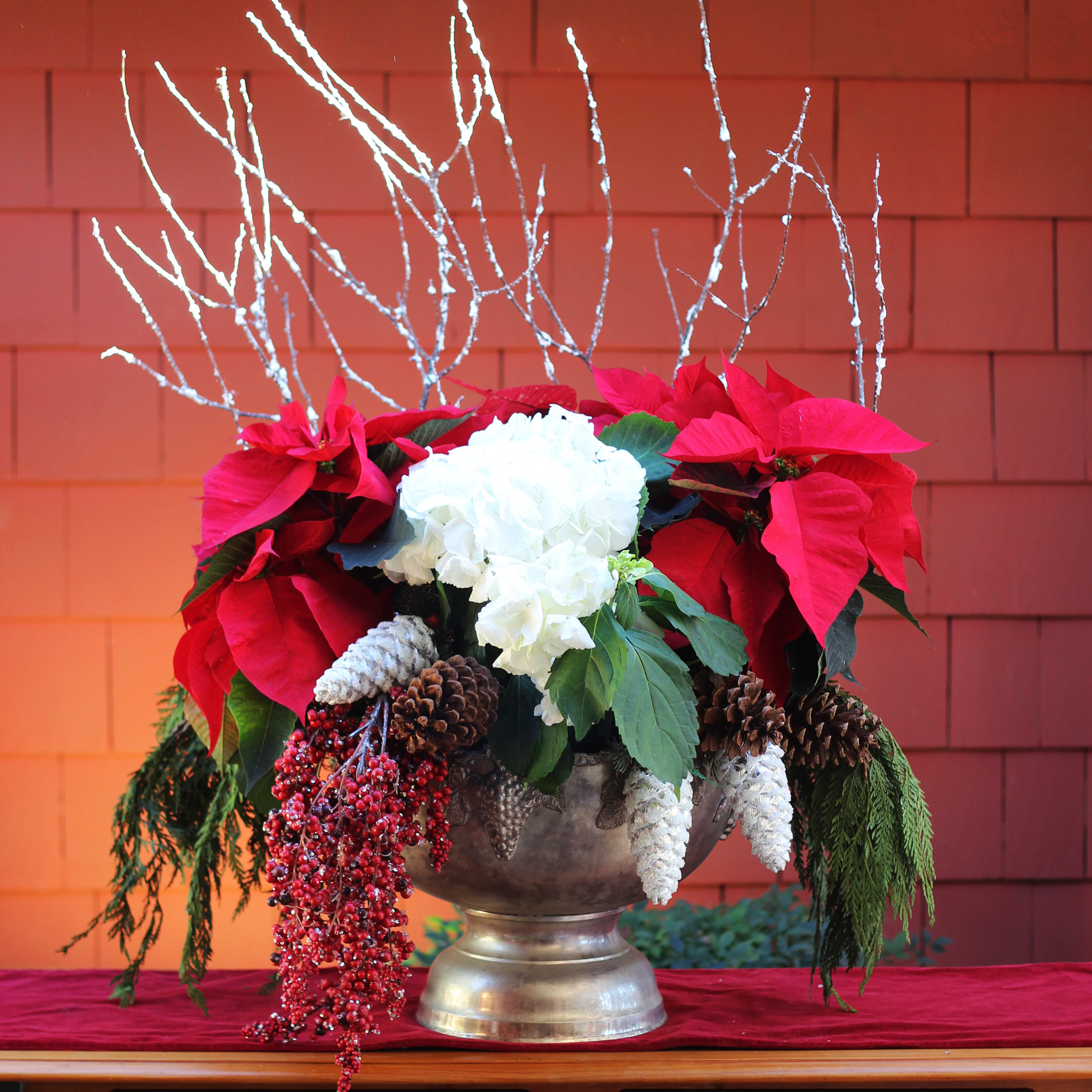 Push ends of branches into dirt in Poinsettia pot.