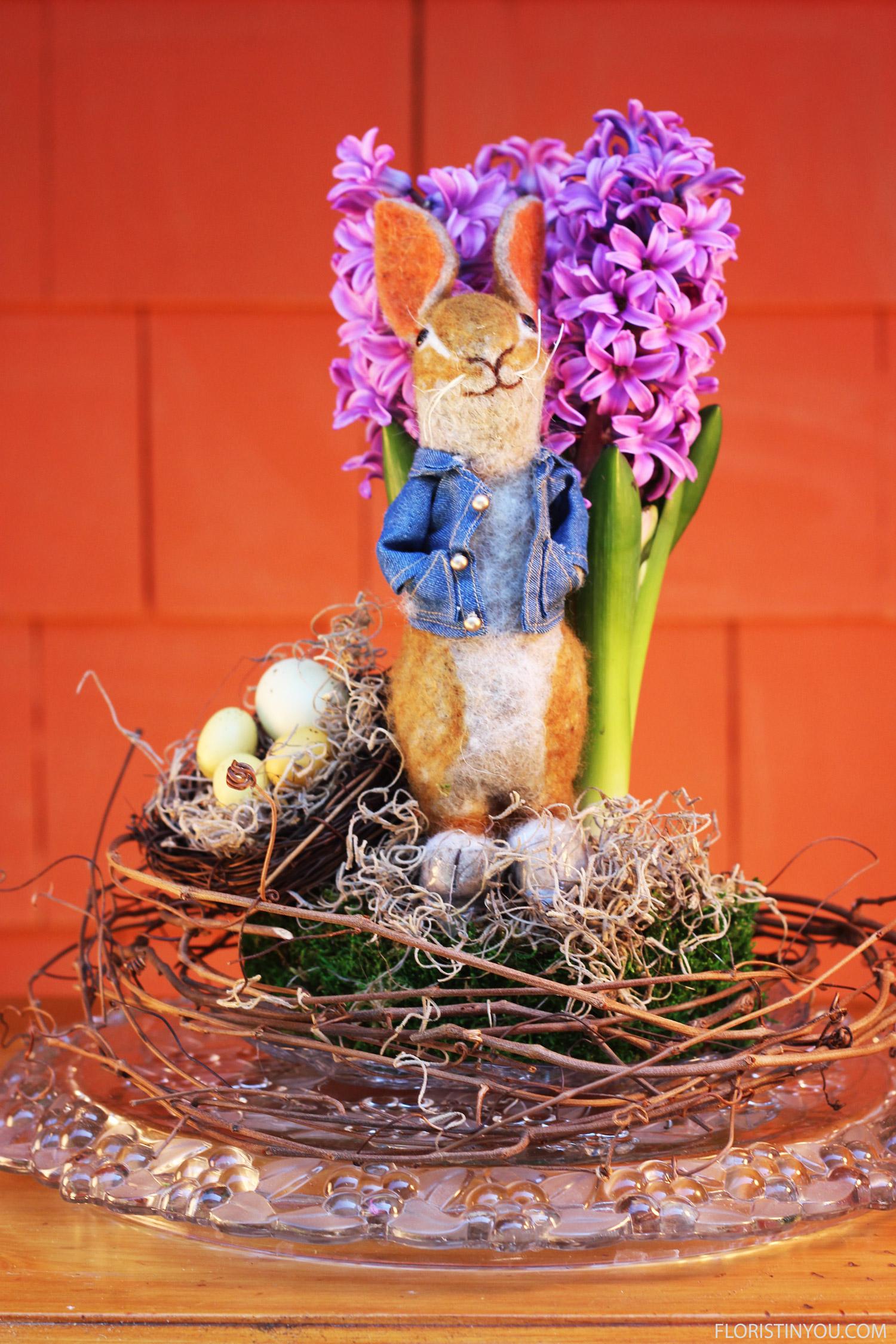 Add grapevine, nest,rabbit. Add Spanish Moss around rabbit's feet.