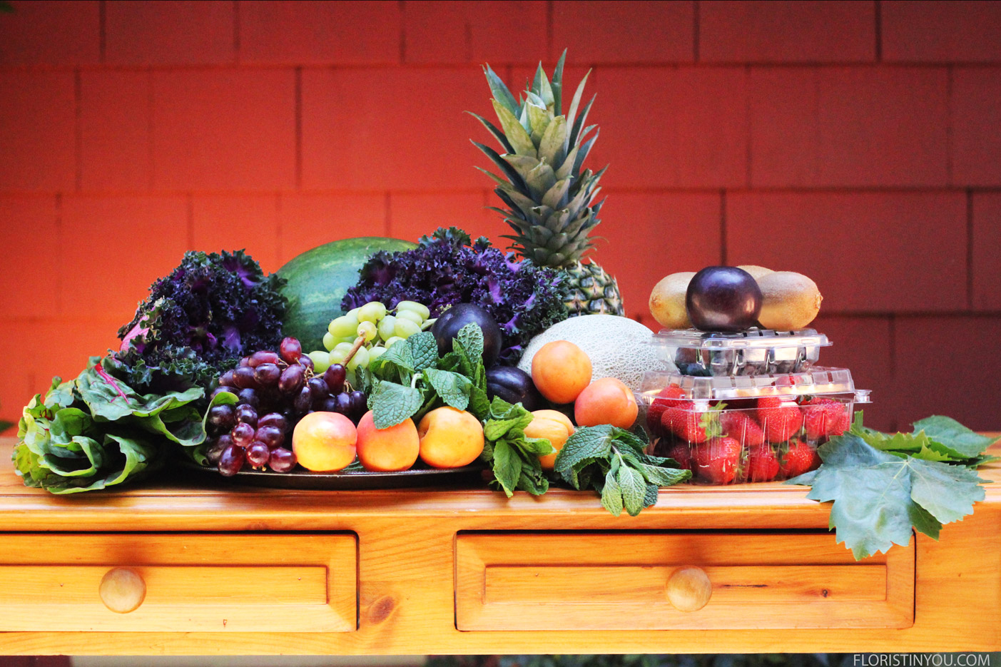 Here are the fruits and veggies you will use.