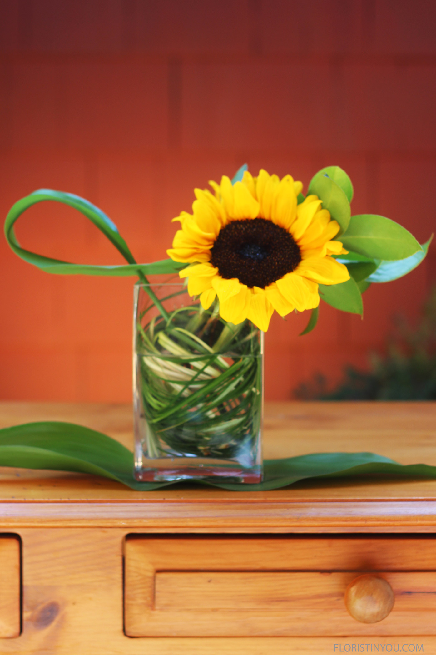 Sunflowers in a Rectangular Vase
