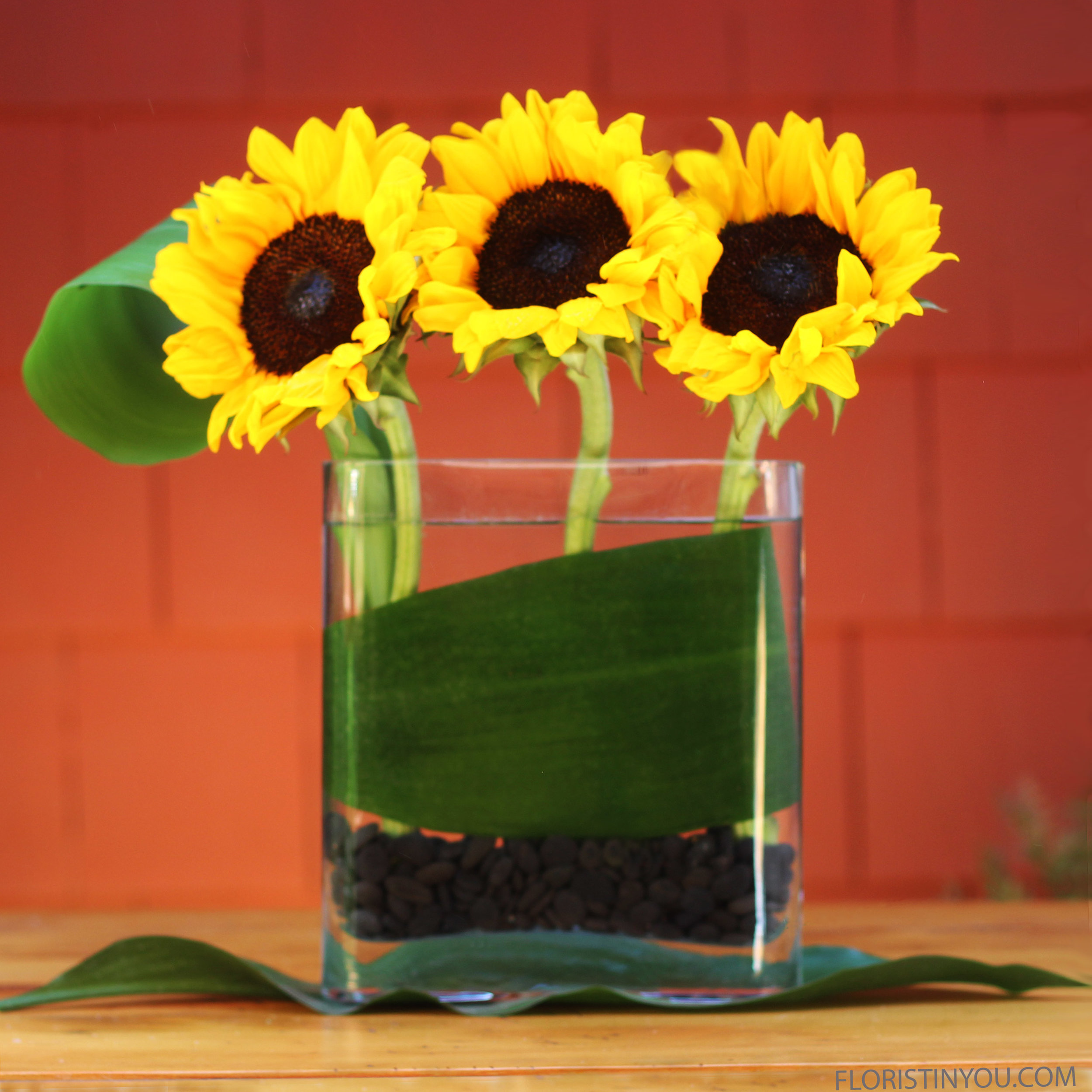 Sunflowers in a Rounded Edge Vase