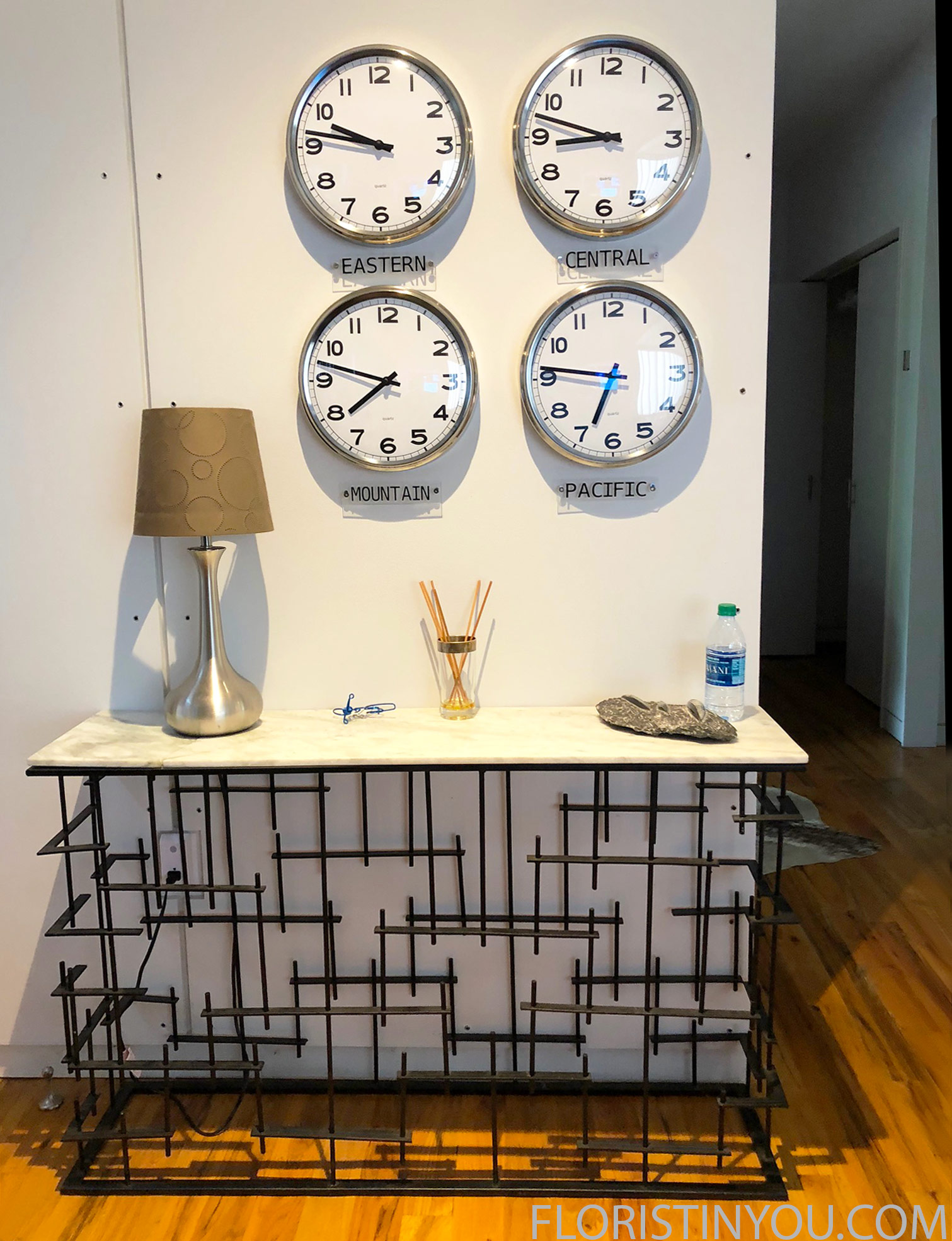 Need to know the time?  The wall of clock is in the entry way.  Cool table too.