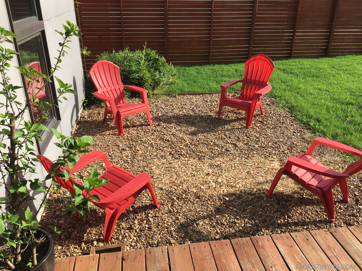 I love the red chairs off the back patio.