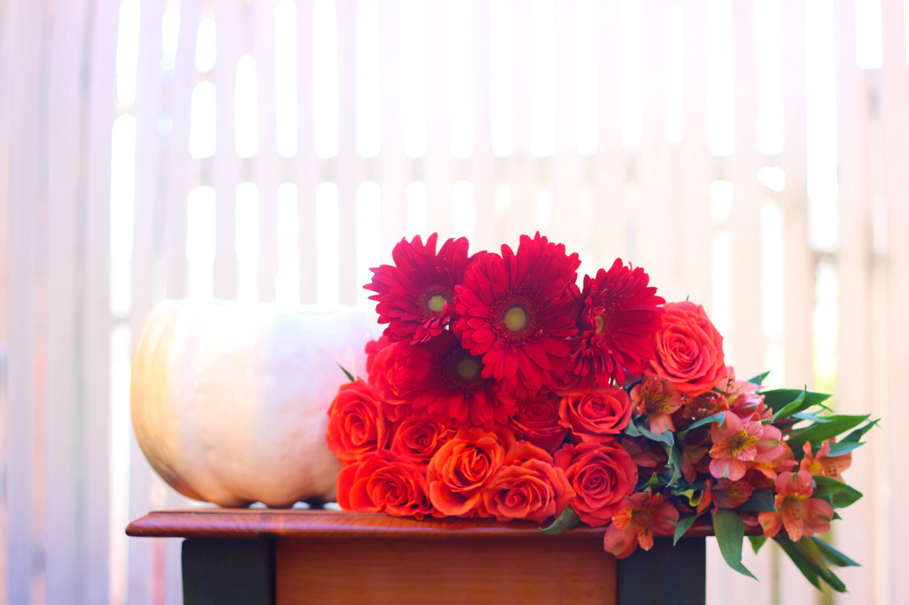 Here are you flowers and vase.