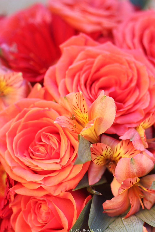 Roses and Alstroemeria close up.