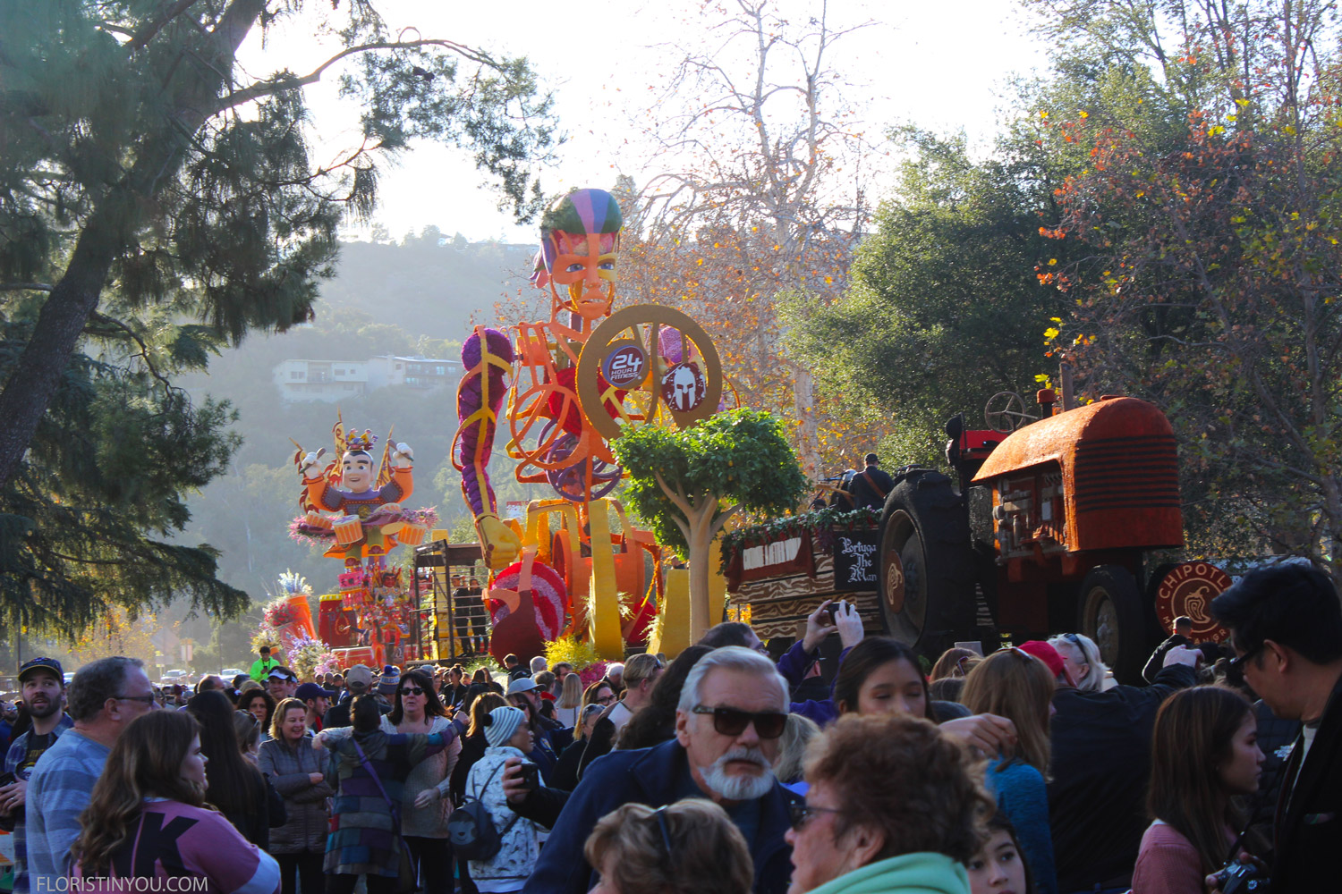 Finishing touches placed on floats by the Rose Bowl on New Year's Eve.
