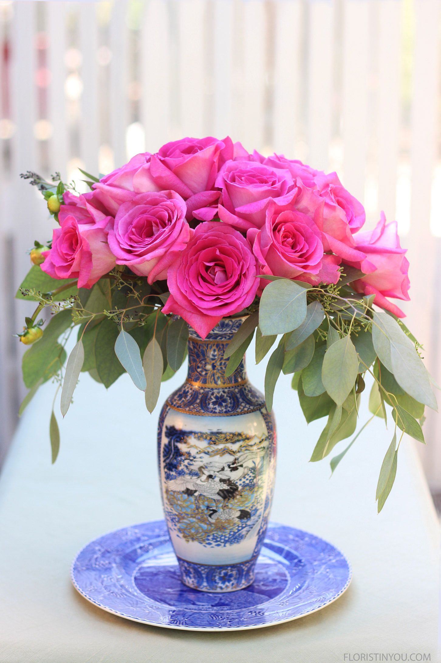 Roses in a Blue & White Tall Vase