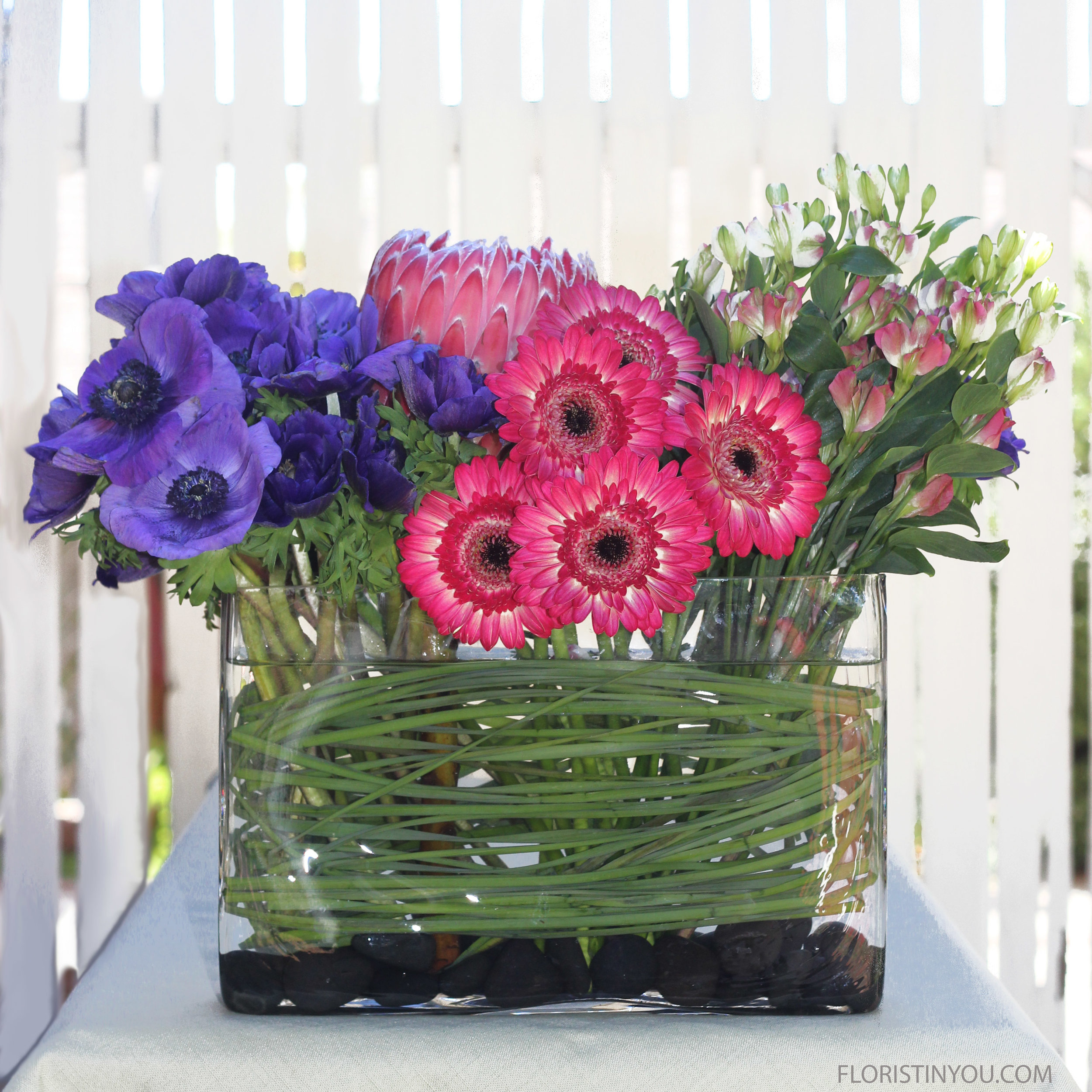 Pink Protea & Purple Anemone