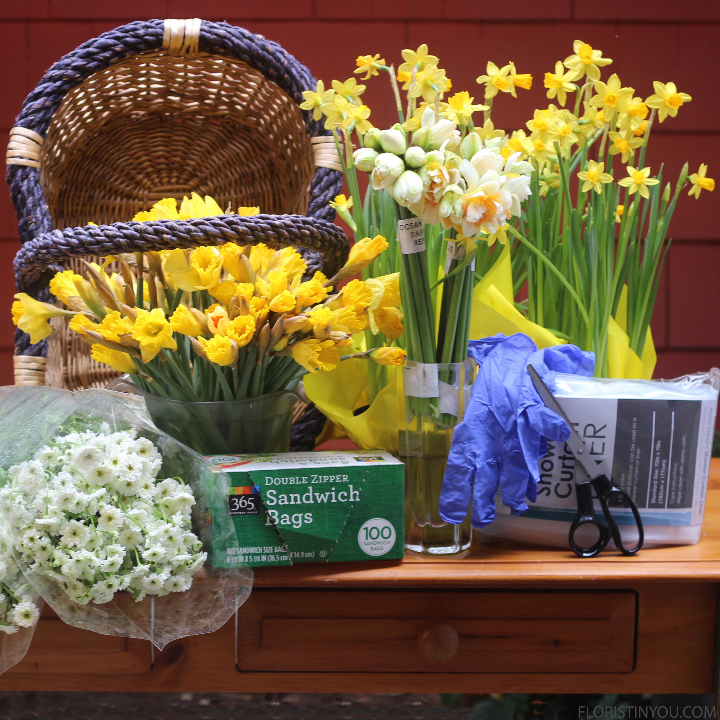 Here is the basket, potted Mini Daffodils and shower curtain that you will use..