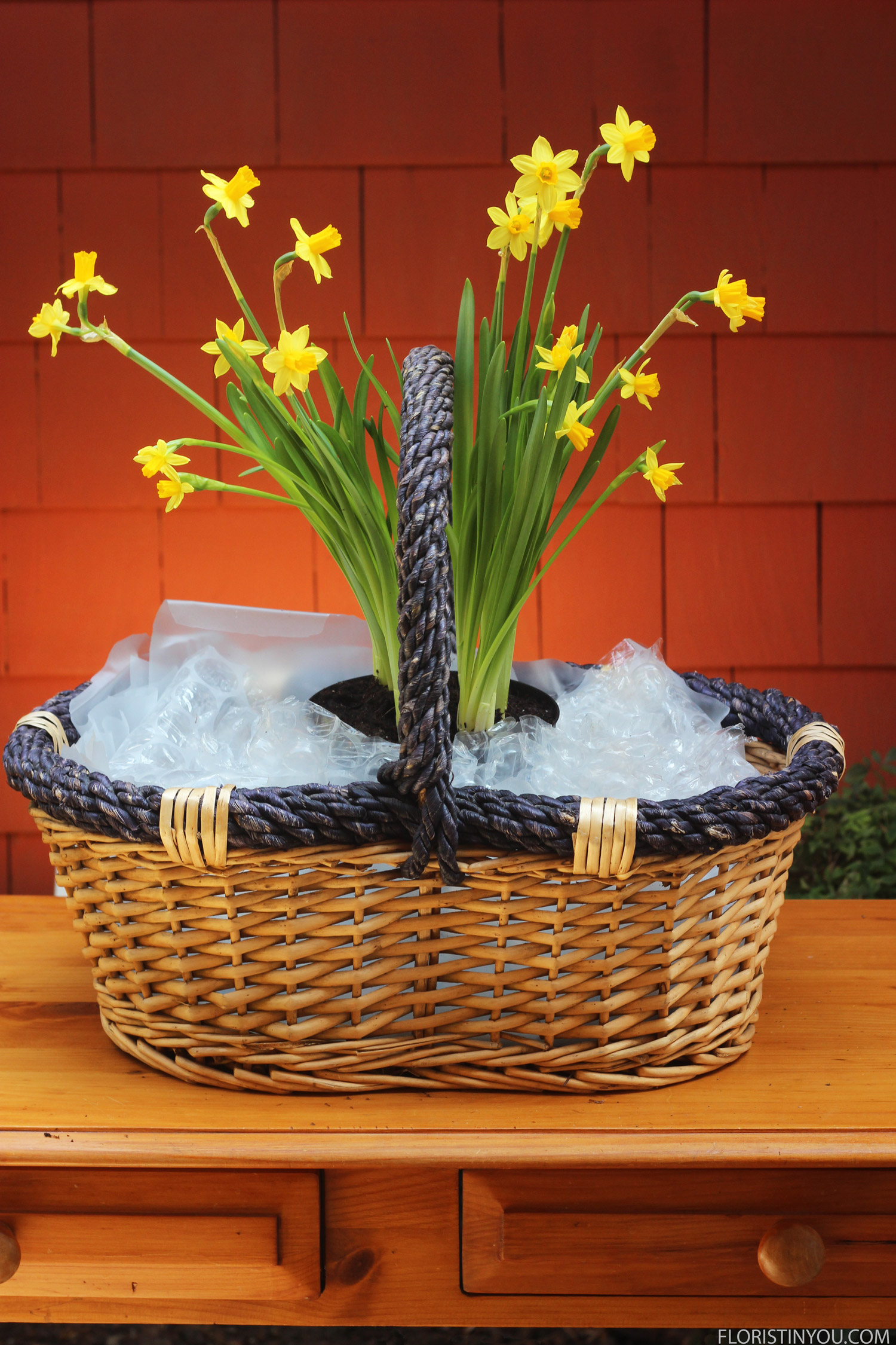 Put 7 sheets bubble wrap in bottom of basket and insert first daffodil pot with flowers on both sides of handle.