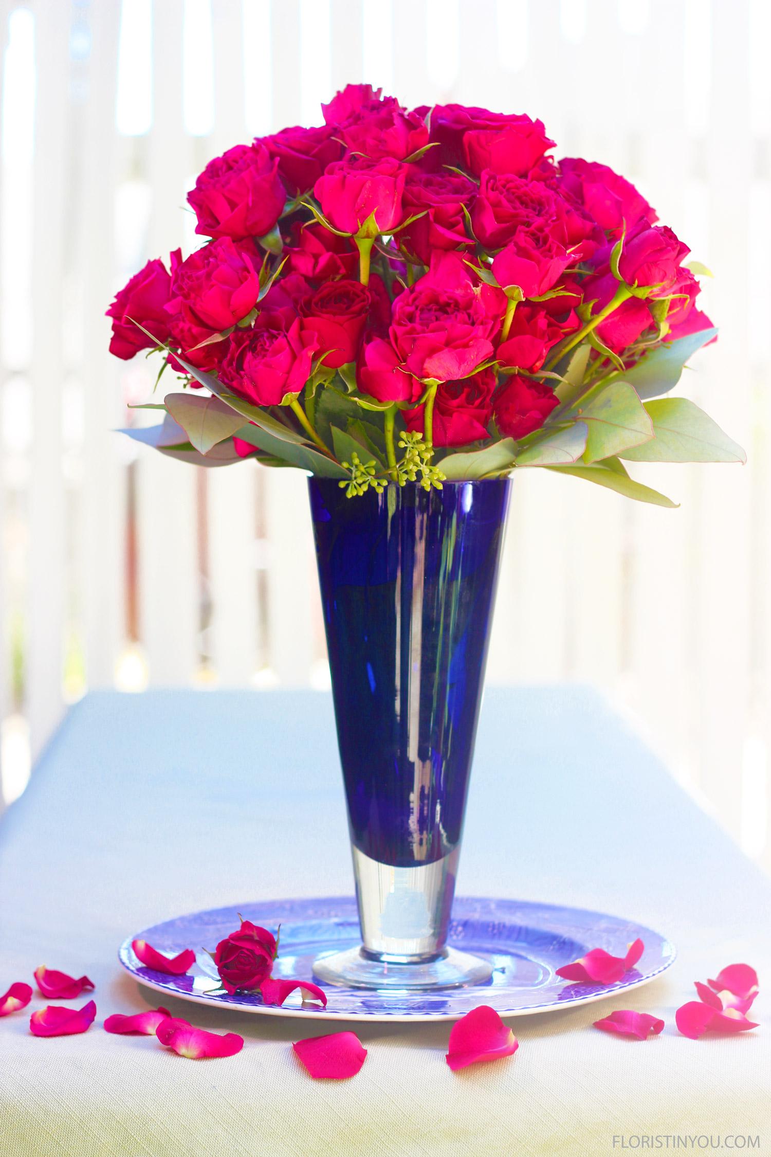 Fuchsia Roses in a Cobalt Blue Vase
