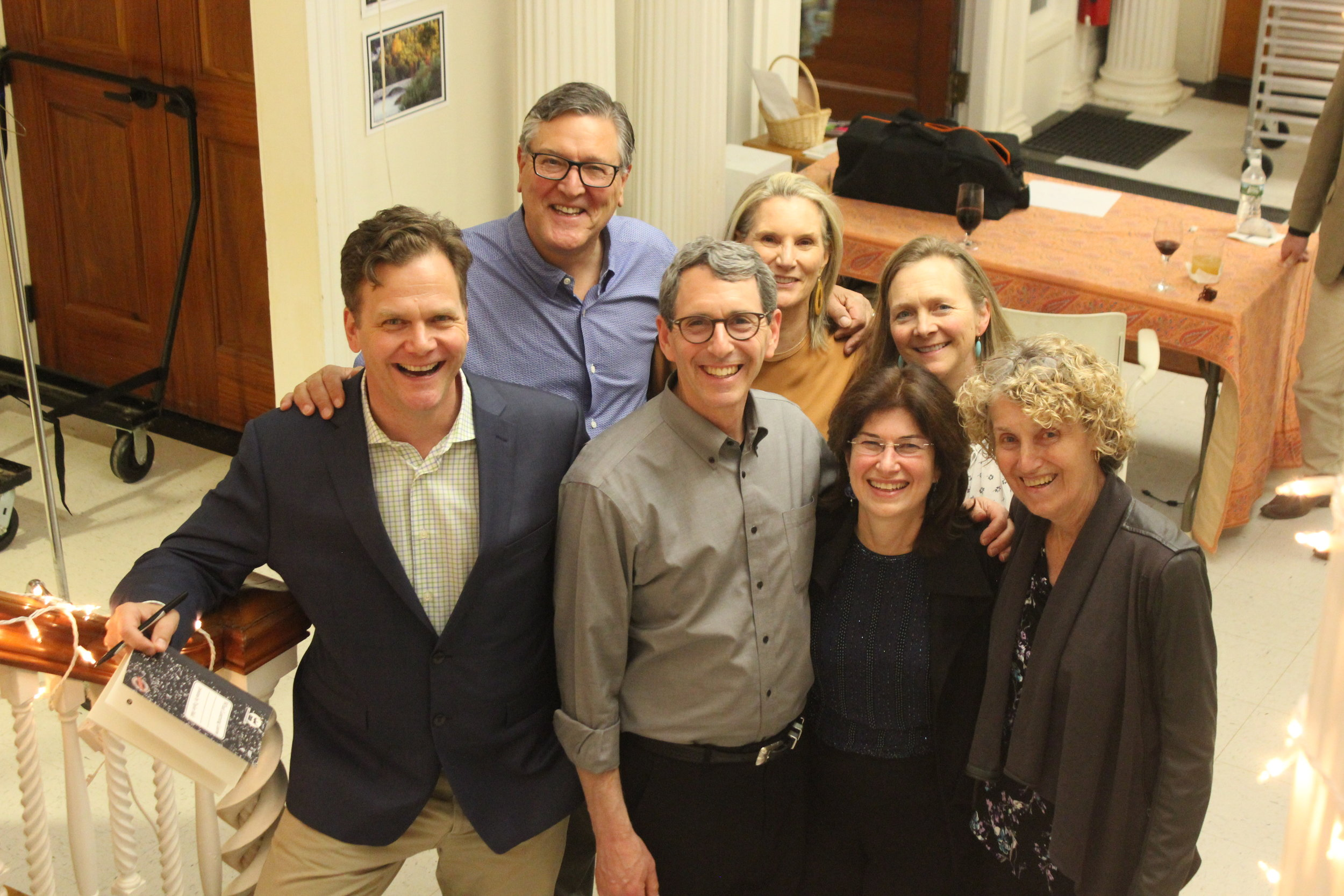 L to R- Taylor Mali and Board Members- Cliff and Carey Cort- Andrew Singer, Heidi Webb, Kate Pingeon and Nancy Klavans