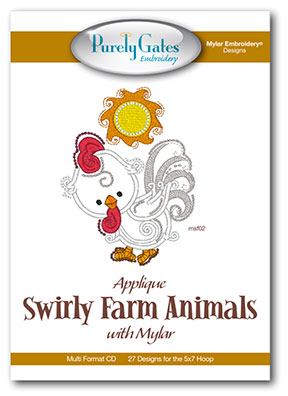 Applique Swirly Farm Animals with Mylar