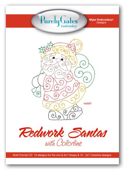 Redwork Santas with Colorline