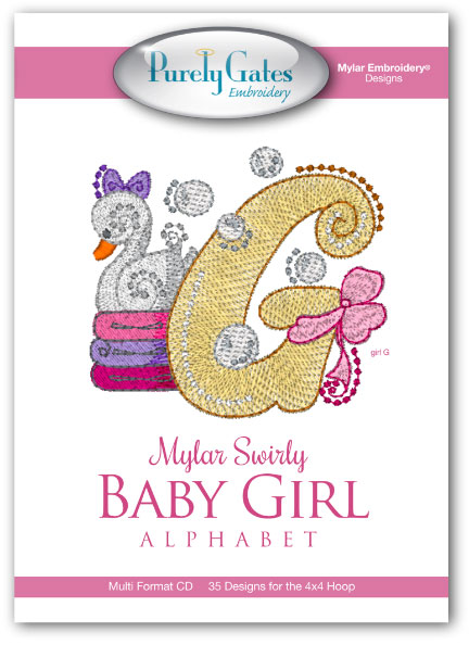 Mylar Swirly Baby Girl Alphabet