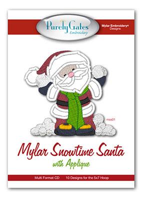 Mylar Snowtime Santa with Appliqué