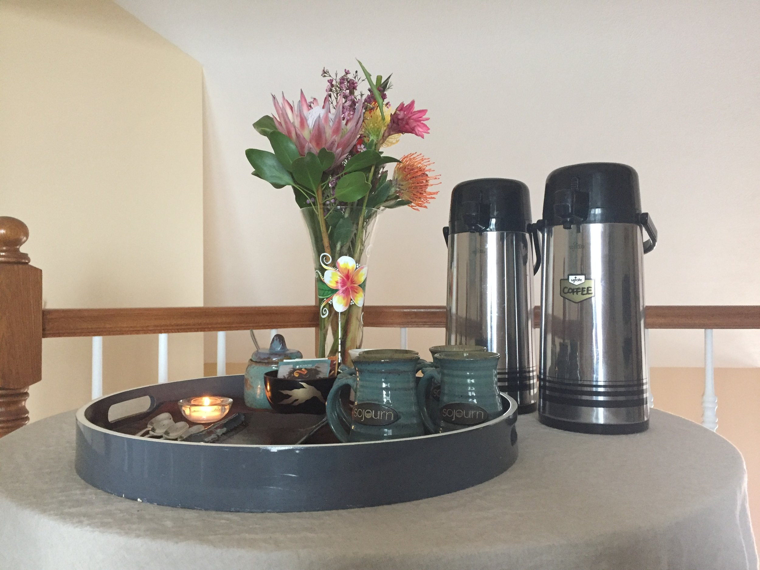 Coffee and tea service is available at 7:00 a.m.