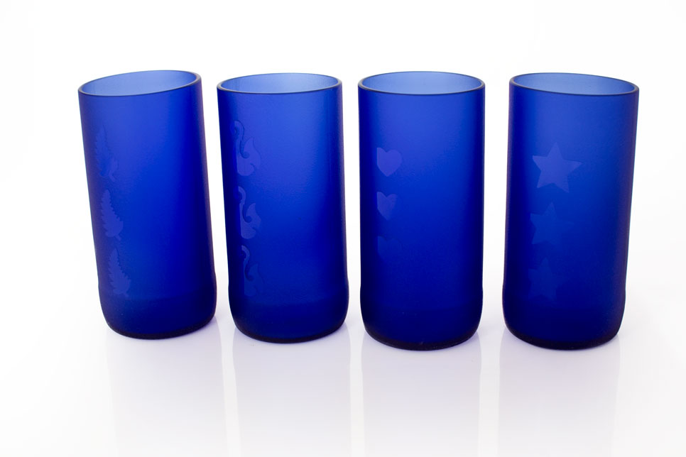 Recycled Glass Bottles - Sandblasted & polished