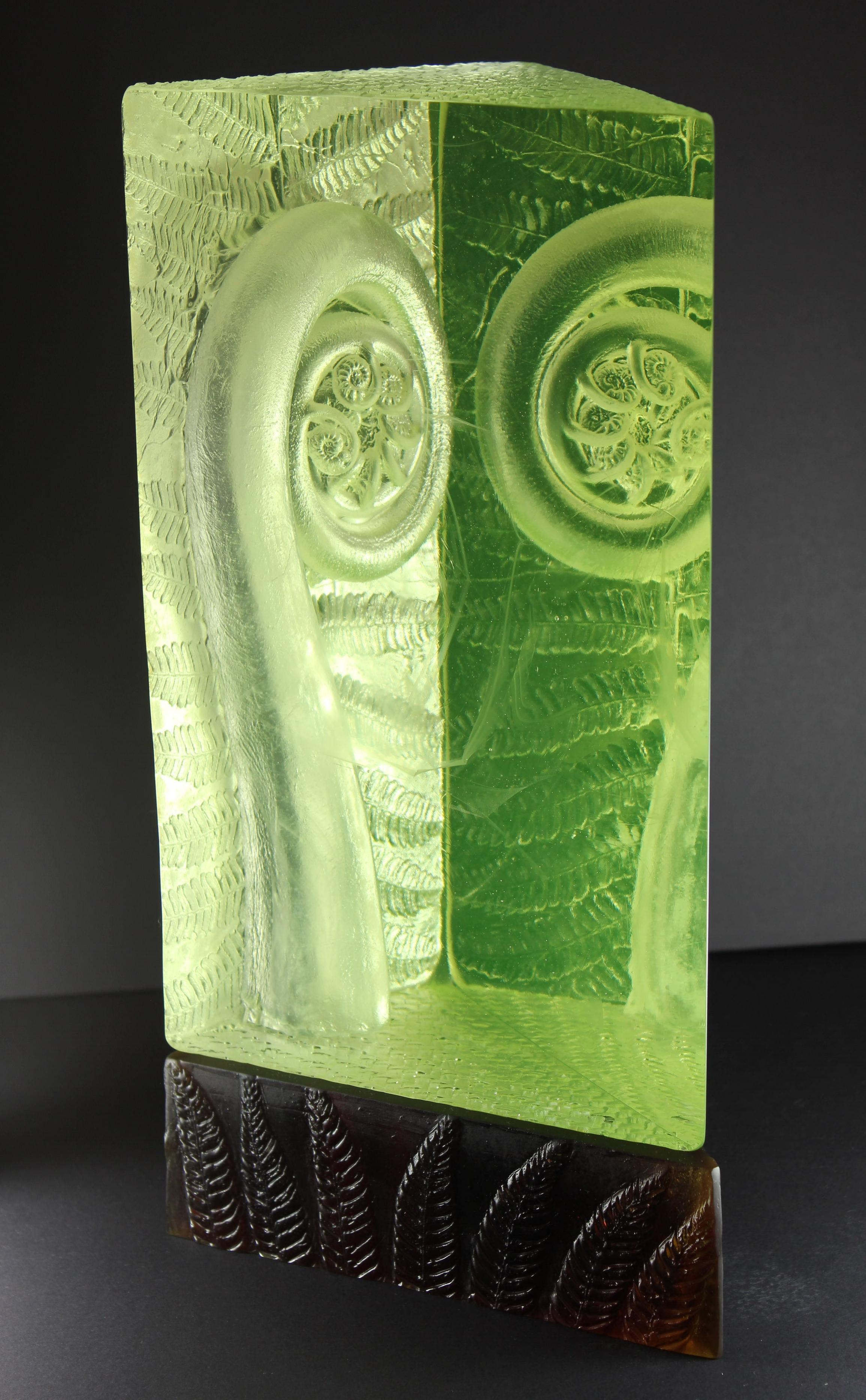 'New Beginning' (2016) Kiln cast glass, polished, LED lighting. (H x 360mm, W x 190mm, D x 160mm)
