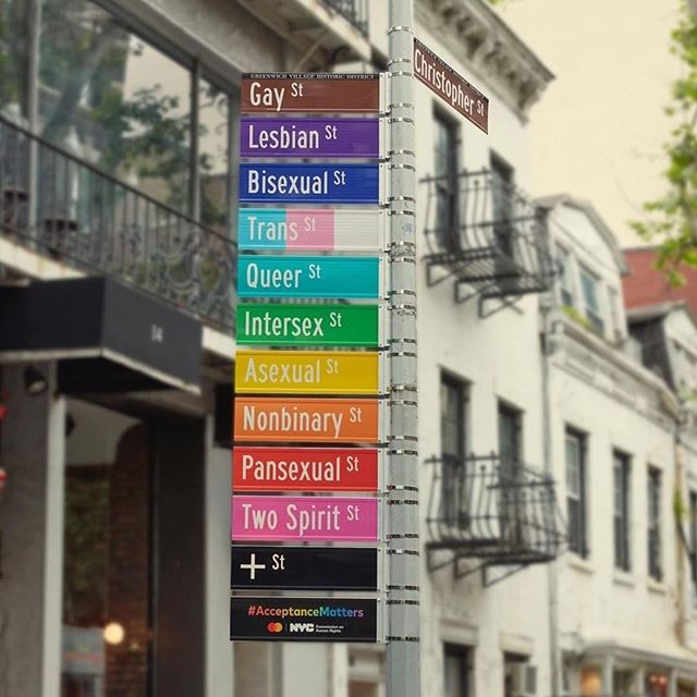 #Repost @nycgo ・・・ In partnership with the NYC Commission on Human Rights, Mastercard installed a rainbow of signs yesterday at the corner of Christopher & Gay streets to affirm that #AcceptanceMatters. 📷: @mastercard  🏳️‍🌈🗽  #StartSomethingPriceless @mastercard @nyc_dot @nycchr #NYCPride #Pride #NYCProud #WorldPrideNYC #WorldPride2019 #Stonewall50 #Pride2019 #SeeYourCity #ThisIsNewYorkCity #NewYorkCity #NYC