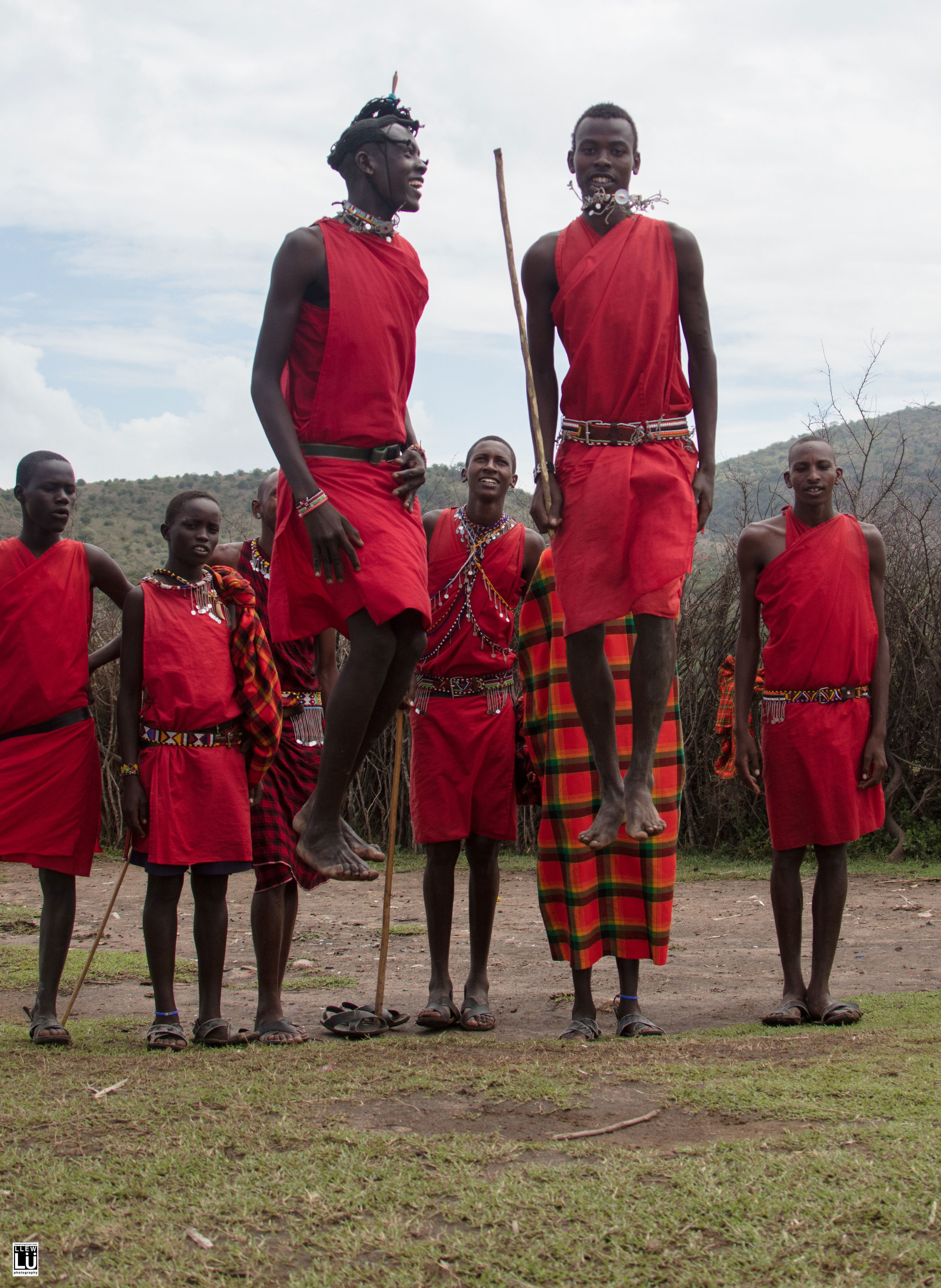 All part of their traditional Jumping Dance, a right of passage and a mating dance. It is for the young Maasai warrior to show his strength and attract a potential wife.