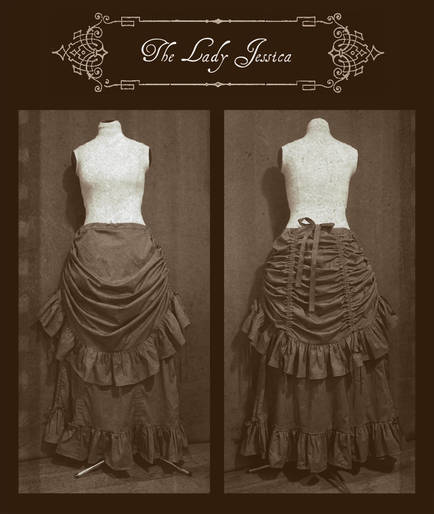 Two Bustle Skirts layered together for a vintage Victorian look!