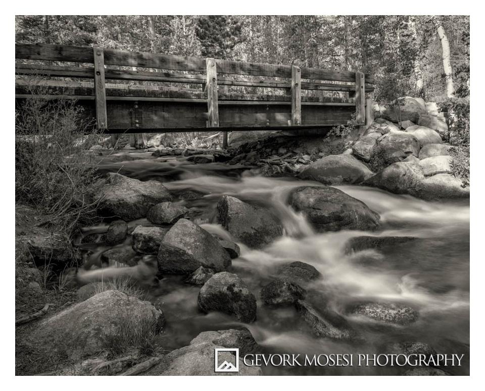 Rock Creek Campground Bridge, Sierras, Chamonix 45n-1 with Rodenstock 90mm, Tmax 100