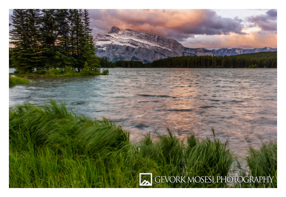 gevork_mosesi_photography_landscape_banff_alberta_canada_two_jack_lake_mount_rundle_grass_sunrise_golden_hour.jpg