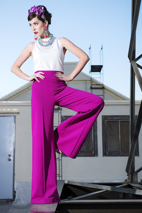 Model, Amy Roiland of  A Fashion Nerd ; Photography by Bobby Do Right; Top by Hackwith Design House; pants by Ripley Rader; Purse by Hipsters for Sisters; Jewelry by Tarina Tarantino; Styled by The MiA Project