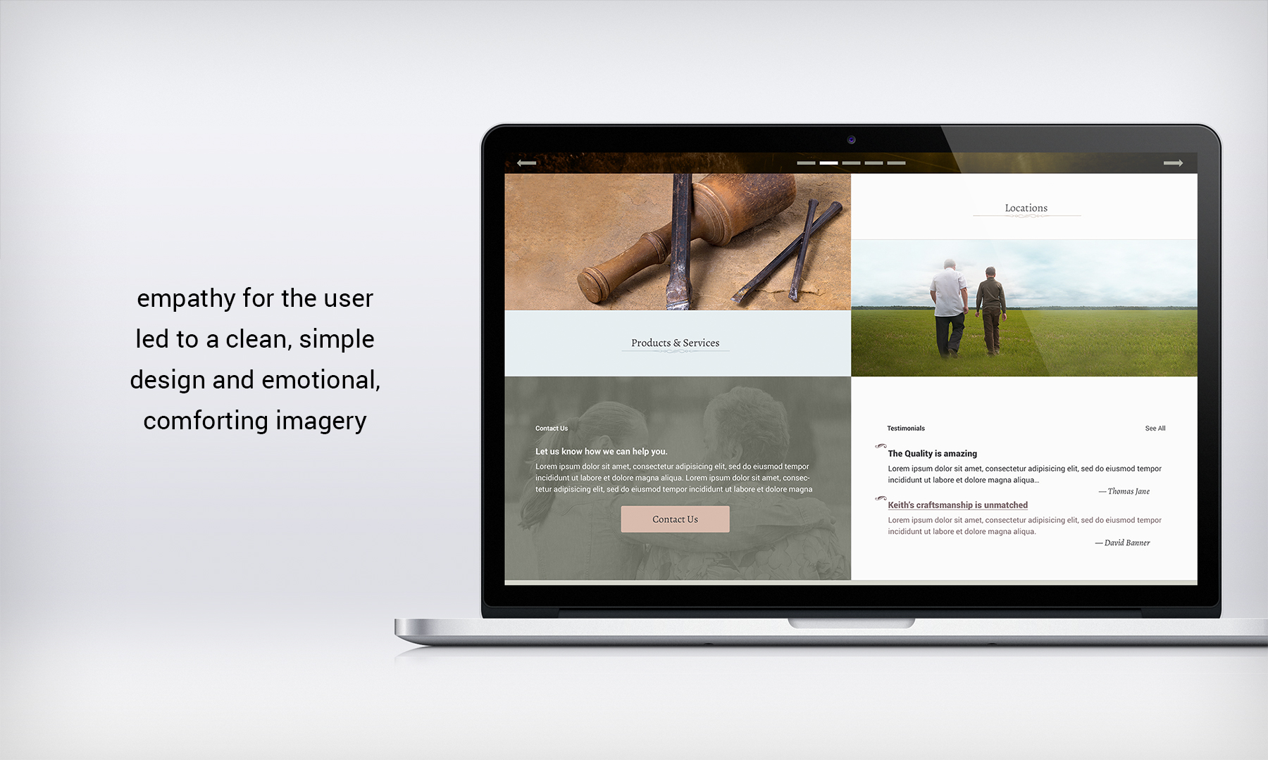 Empathy for users led to a clean, simple design and emotional, comforting imagery.