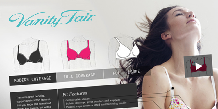 Vanity Fair. Parallax scrolling website and online shopping tools for Fruit of the Loom lingerie brand Vanity Fair.