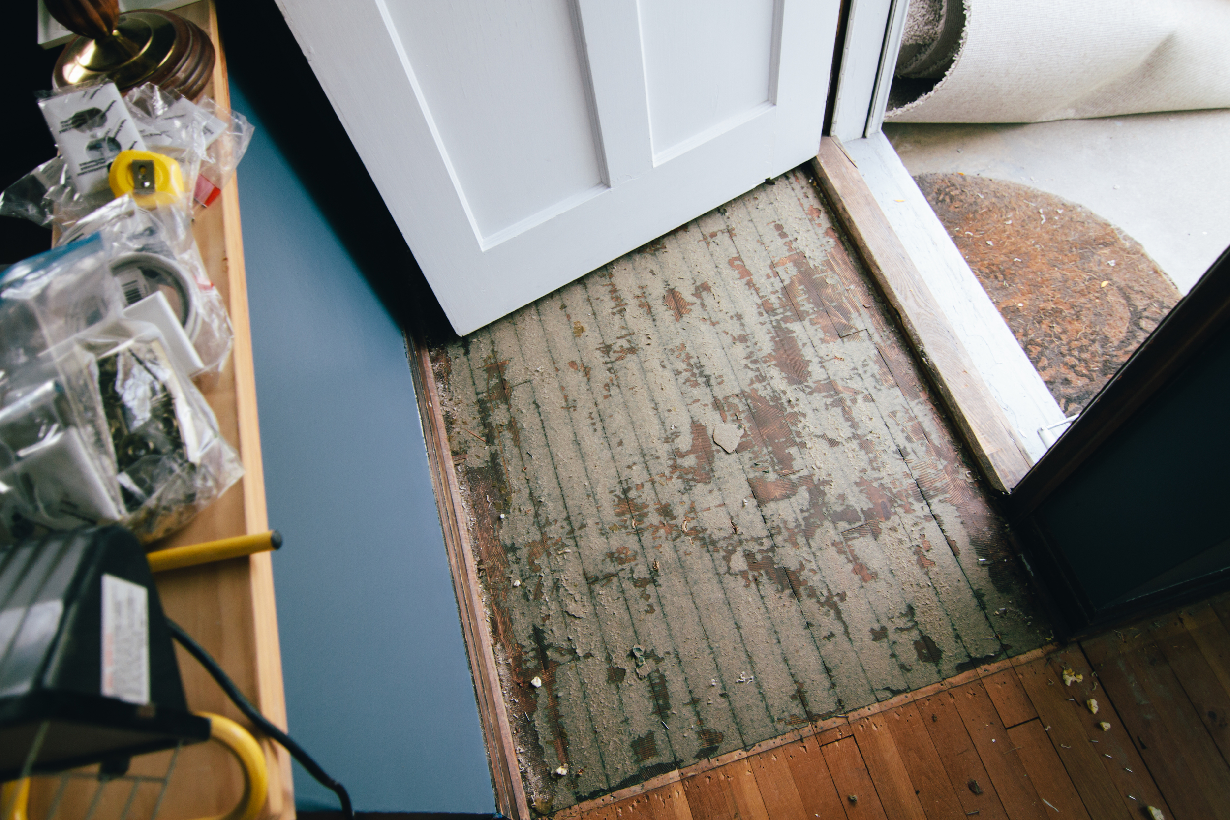But there was fake brick plaster stuff on the floor next to the front door.