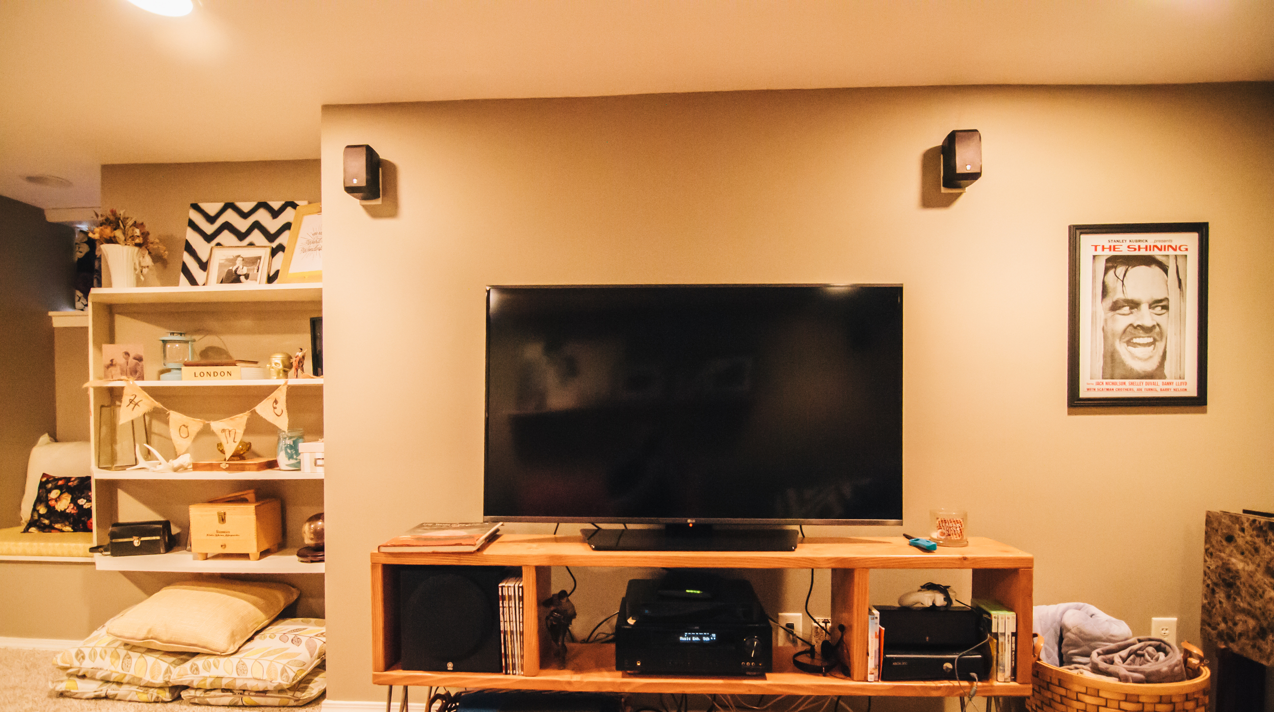 We finally got all the surround sound hooked up, thanks to the people before us for getting it all put together, and finally got a real TV!