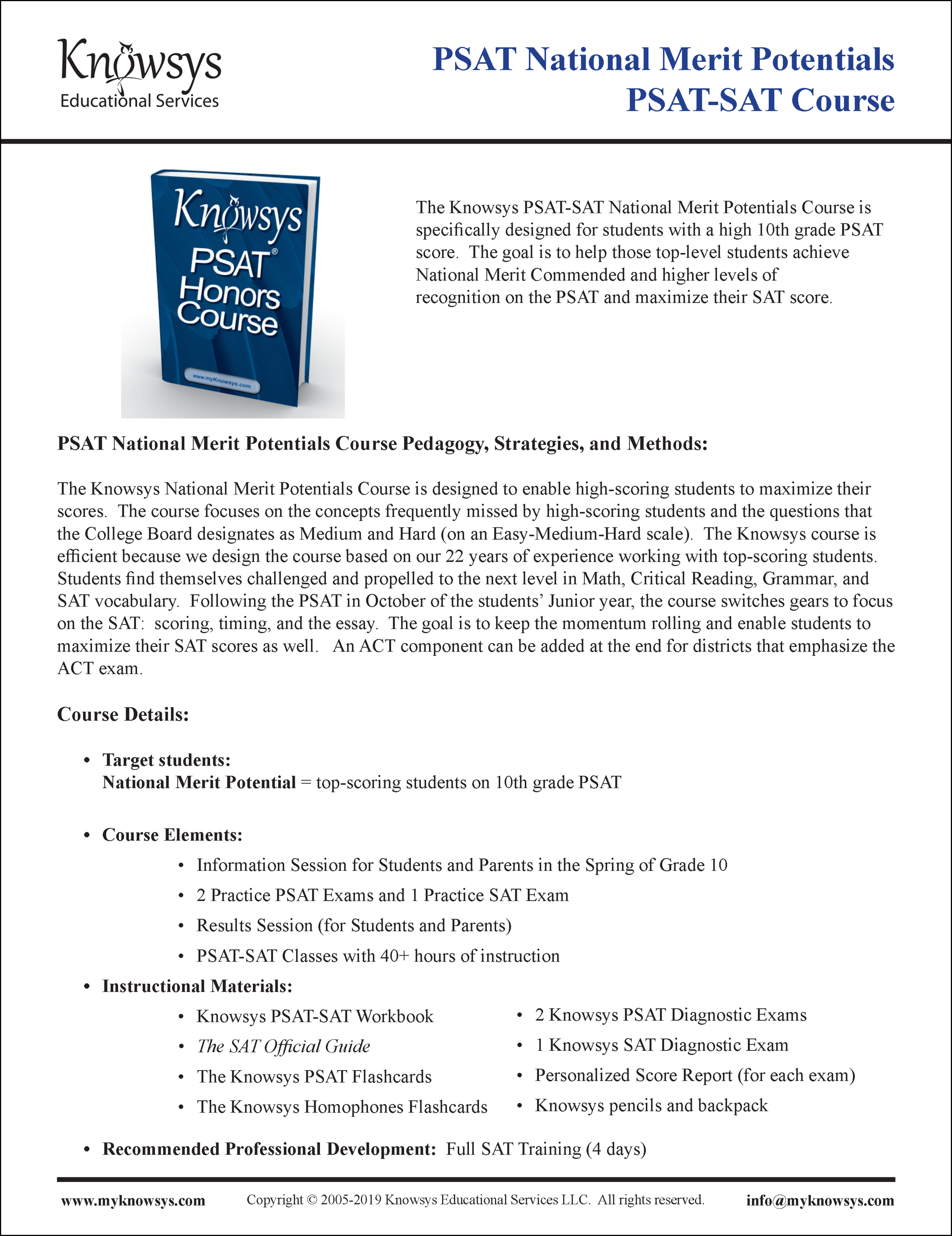 PSAT Curriculum Overview & Timeline