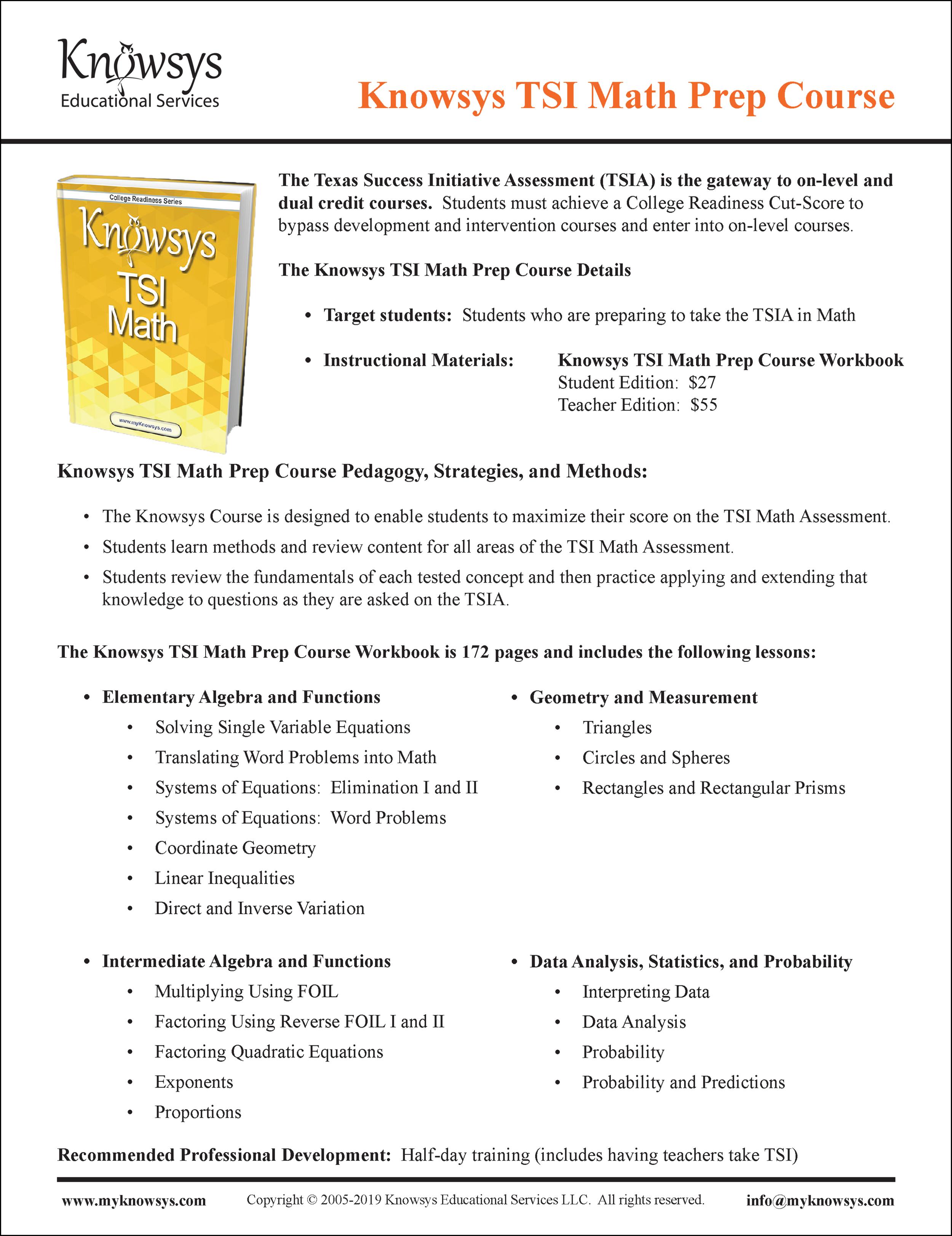 TSI Math Curriculum