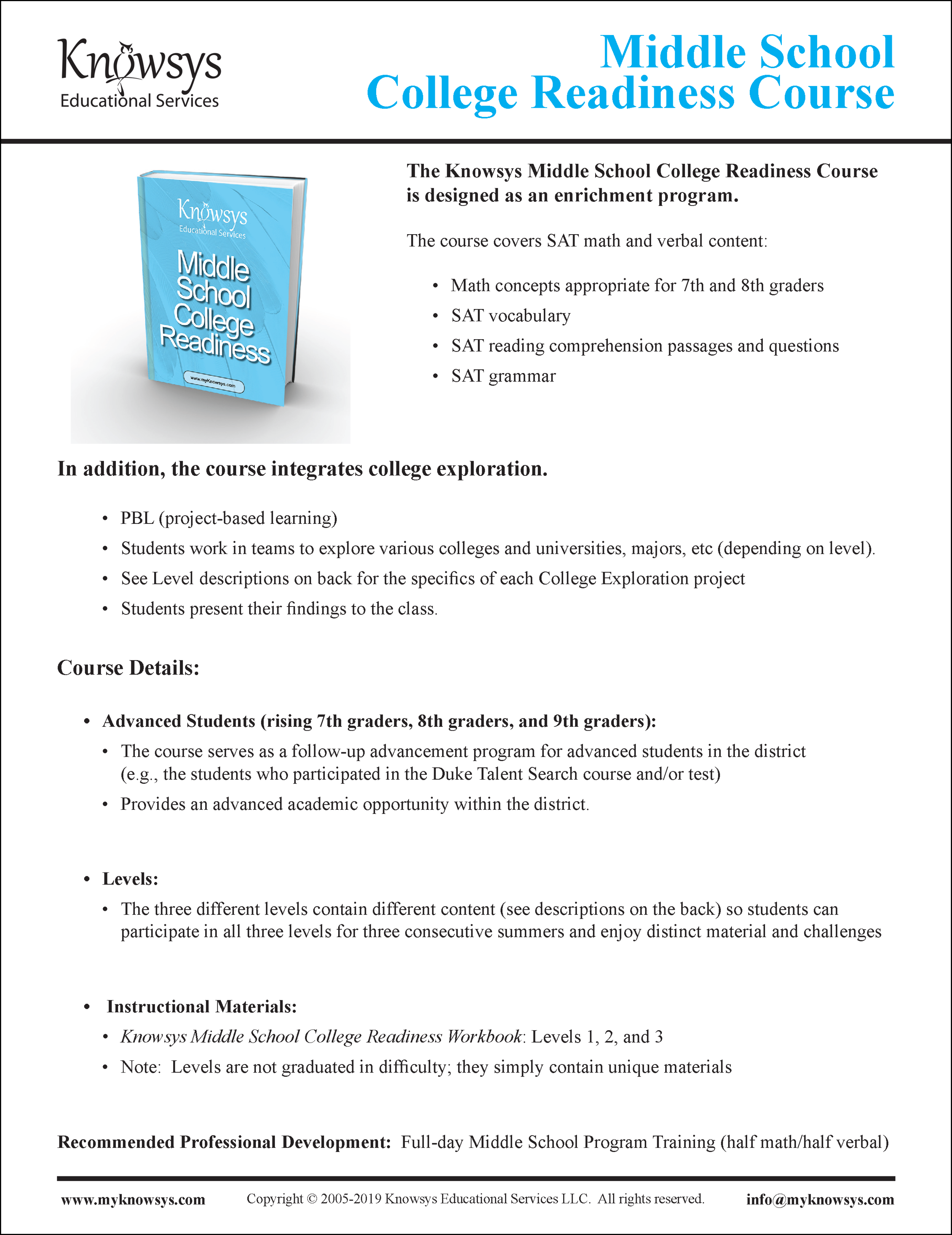 Middle School College Readiness Curriculum Overview