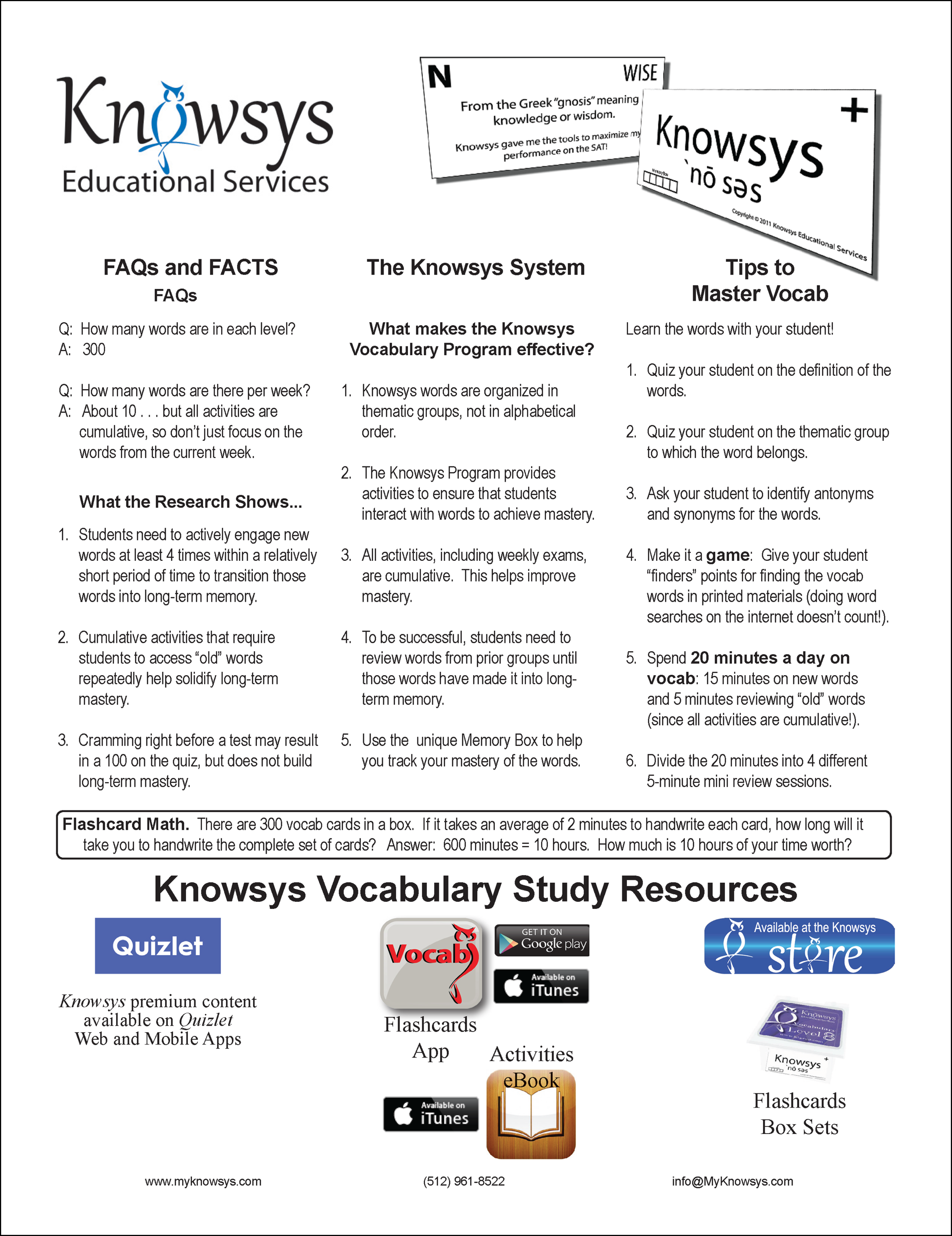 Vocab Handout for Parents & Students